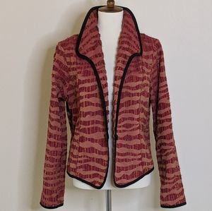 VTG Striped Jacket w/ Black Piping & Front Button